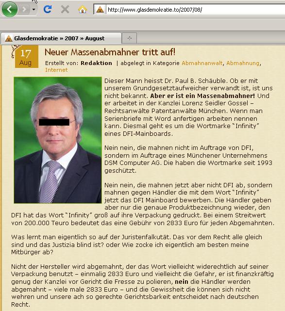 Abmahnung der Lorenz Seidler Gossel Rechtsanwält im Auftrag